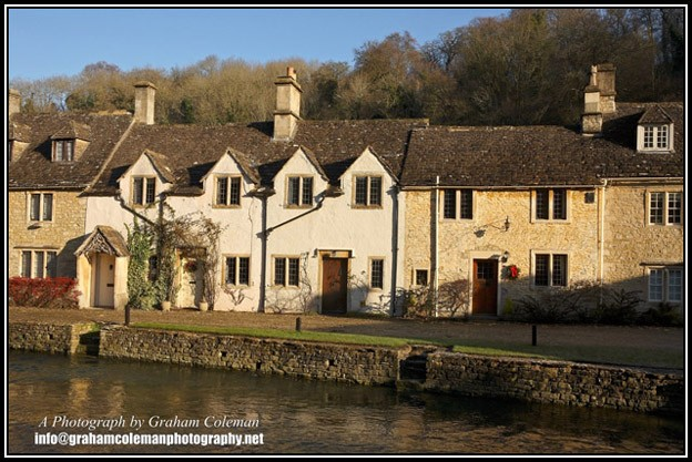 Cottages on the Riverside at Castle Combe, cotswold pictures by Graham Coleman
