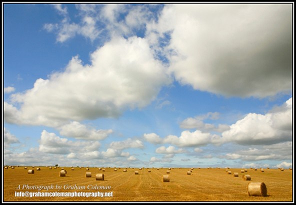 Hay bales and Big sky at Hawkesbury upton, spectacular Cotswold Landscapes by Graham Coleman