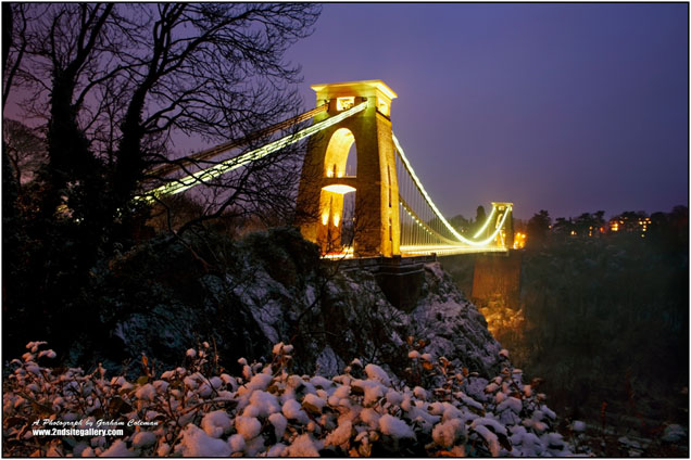 clifton suspension bridge in the snow an original photograph by British Landscape photographer graham coleman