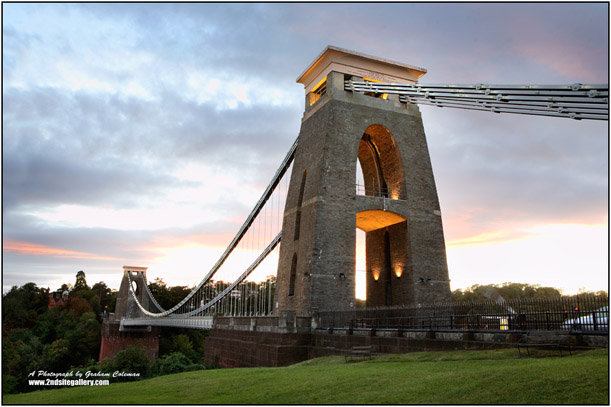 The clifton suspension bridge in evening light
