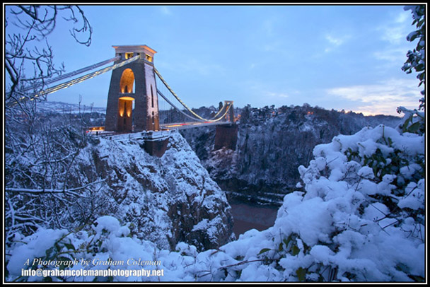 Clifton Suspension Bridge in the Snow an original photograph by Graham Coleman