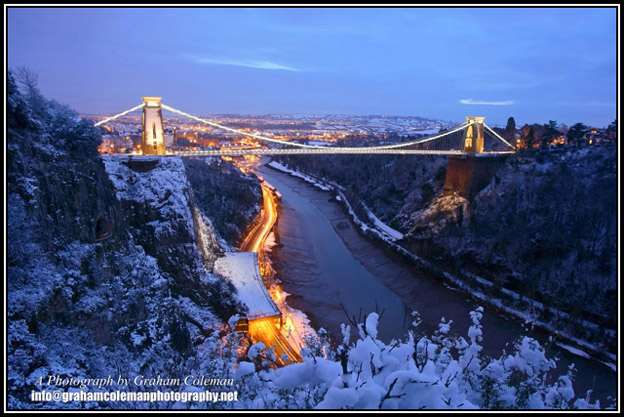 Clifton Suspension Bridge and the Avon Gorge in the Snow