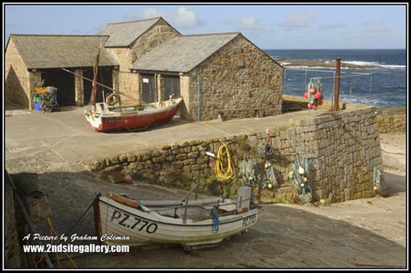 Views of fishing boats at Seenen Cove, Pictures of the cornish coast