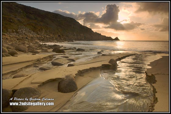 View of a Cornish Beach at Sunrise, West Country Landscape pictures